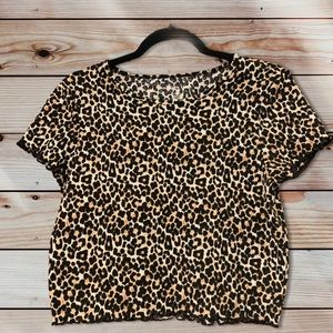 American Eagle Cheetah Crewneck Short Sleeve Crop